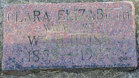 HEISS, CLARA ELIZABETH - Minnehaha County, South Dakota | CLARA ELIZABETH HEISS - South Dakota Gravestone Photos