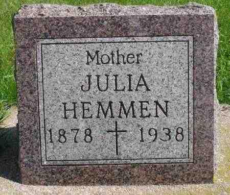 MONNER HEMMEN, JULIA - Minnehaha County, South Dakota | JULIA MONNER HEMMEN - South Dakota Gravestone Photos