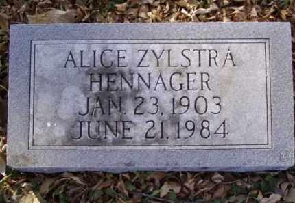 ZYLSTRA HENNAGER, ALICE - Minnehaha County, South Dakota | ALICE ZYLSTRA HENNAGER - South Dakota Gravestone Photos