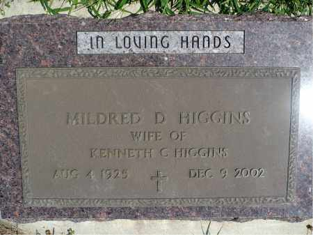 HIGGINS, MILDRED D. - Minnehaha County, South Dakota | MILDRED D. HIGGINS - South Dakota Gravestone Photos
