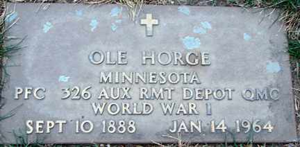 HORGE, OLE (WWI) - Minnehaha County, South Dakota   OLE (WWI) HORGE - South Dakota Gravestone Photos