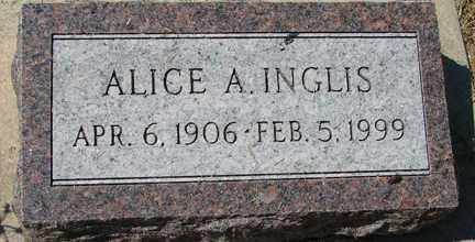 INGLIS, ALICE A. - Minnehaha County, South Dakota | ALICE A. INGLIS - South Dakota Gravestone Photos