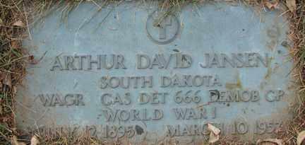 JANSEN, ARTHUR DAVID (WWI) - Minnehaha County, South Dakota | ARTHUR DAVID (WWI) JANSEN - South Dakota Gravestone Photos