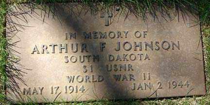 JOHNSON, ARTHUR F. - Minnehaha County, South Dakota | ARTHUR F. JOHNSON - South Dakota Gravestone Photos