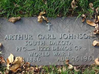 JOHNSON, ARTHUR CARL - Minnehaha County, South Dakota | ARTHUR CARL JOHNSON - South Dakota Gravestone Photos