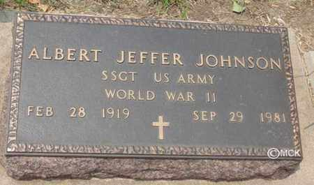 JOHNSON, ALBERT JEFFER - Minnehaha County, South Dakota | ALBERT JEFFER JOHNSON - South Dakota Gravestone Photos