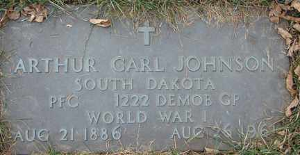 JOHNSON, ARTHUR CARL (WWI) - Minnehaha County, South Dakota | ARTHUR CARL (WWI) JOHNSON - South Dakota Gravestone Photos