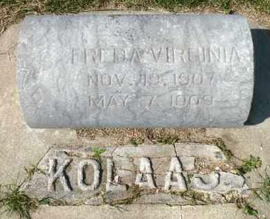 KOLAAS, FREDA VIRGINIA - Minnehaha County, South Dakota | FREDA VIRGINIA KOLAAS - South Dakota Gravestone Photos