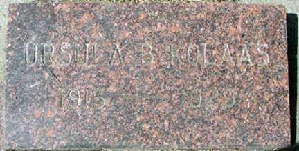 KOLAAS, URSULA  B. - Minnehaha County, South Dakota   URSULA  B. KOLAAS - South Dakota Gravestone Photos