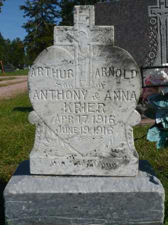 KRIER, ARTHUR ARNOLD - Minnehaha County, South Dakota | ARTHUR ARNOLD KRIER - South Dakota Gravestone Photos