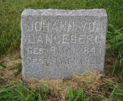 LANGEBERG, JOHANN VON - Minnehaha County, South Dakota | JOHANN VON LANGEBERG - South Dakota Gravestone Photos