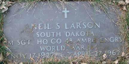 LARSON, NEIL S. (WWII) - Minnehaha County, South Dakota | NEIL S. (WWII) LARSON - South Dakota Gravestone Photos