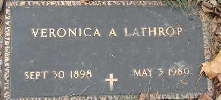 LATHROP, VERONICA A. - Minnehaha County, South Dakota | VERONICA A. LATHROP - South Dakota Gravestone Photos