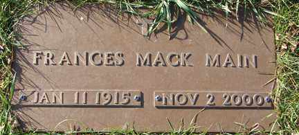 MAIN, FRANCES MACK - Minnehaha County, South Dakota | FRANCES MACK MAIN - South Dakota Gravestone Photos