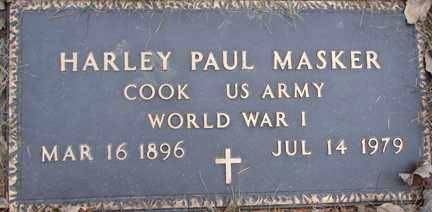 MASKER, HARLEY PAUL (WWI) - Minnehaha County, South Dakota   HARLEY PAUL (WWI) MASKER - South Dakota Gravestone Photos