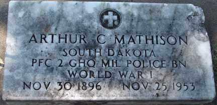 MATHISON, ARTHUR C. (WWI) - Minnehaha County, South Dakota | ARTHUR C. (WWI) MATHISON - South Dakota Gravestone Photos