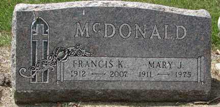 MCDONALD, MARY J. - Minnehaha County, South Dakota | MARY J. MCDONALD - South Dakota Gravestone Photos