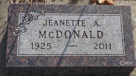 MCDONALD, JEANETTE A. - Minnehaha County, South Dakota | JEANETTE A. MCDONALD - South Dakota Gravestone Photos