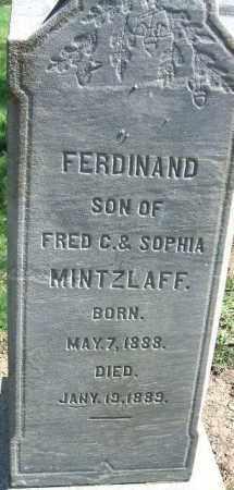 MINTZLAFF, FERDINAND - Minnehaha County, South Dakota | FERDINAND MINTZLAFF - South Dakota Gravestone Photos