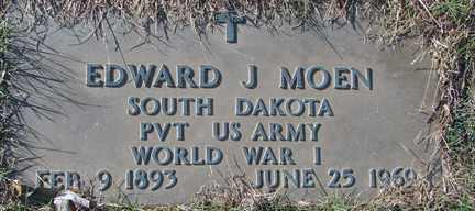 MOEN, EDWARD J. (WWI) - Minnehaha County, South Dakota   EDWARD J. (WWI) MOEN - South Dakota Gravestone Photos