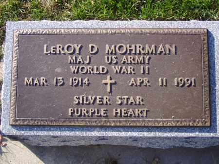 MOHRMAN, LEROY D. - Minnehaha County, South Dakota | LEROY D. MOHRMAN - South Dakota Gravestone Photos