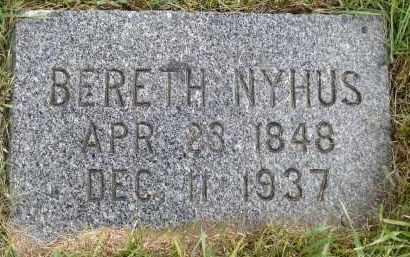 NYHUS, BERETH JOHNSDATTER - Minnehaha County, South Dakota   BERETH JOHNSDATTER NYHUS - South Dakota Gravestone Photos