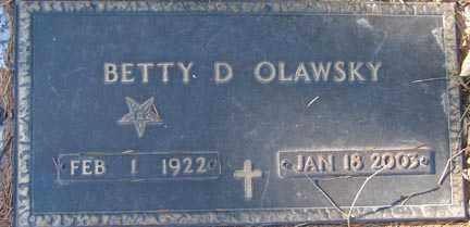 DRAFAHL OLAWSKY, BETTY D. - Minnehaha County, South Dakota | BETTY D. DRAFAHL OLAWSKY - South Dakota Gravestone Photos