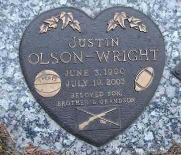 OLSON -WRIGHT, JUSTIN - Minnehaha County, South Dakota | JUSTIN OLSON -WRIGHT - South Dakota Gravestone Photos