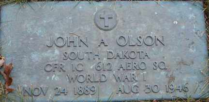 OLSON, JOHN A. (WWI) - Minnehaha County, South Dakota | JOHN A. (WWI) OLSON - South Dakota Gravestone Photos