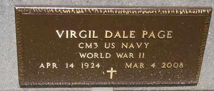 PAGE, VIRGIL DALE - Minnehaha County, South Dakota   VIRGIL DALE PAGE - South Dakota Gravestone Photos
