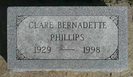 PHILLIPS, CLARE BERNADETTE - Minnehaha County, South Dakota | CLARE BERNADETTE PHILLIPS - South Dakota Gravestone Photos