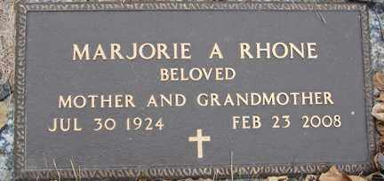 RHONE, MARJORIE  ANN - Minnehaha County, South Dakota | MARJORIE  ANN RHONE - South Dakota Gravestone Photos