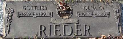 RIEDER, GOTTLIEB - Minnehaha County, South Dakota | GOTTLIEB RIEDER - South Dakota Gravestone Photos