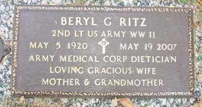 BIRKLAND RITZ, BERYL G. - Minnehaha County, South Dakota | BERYL G. BIRKLAND RITZ - South Dakota Gravestone Photos