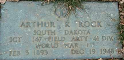 ROCK, ARTHUR R. (WWI) - Minnehaha County, South Dakota | ARTHUR R. (WWI) ROCK - South Dakota Gravestone Photos