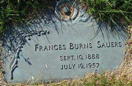 BURNS SAUERS, FRANCES - Minnehaha County, South Dakota | FRANCES BURNS SAUERS - South Dakota Gravestone Photos