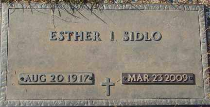 SIDLO, ESTHER I. - Minnehaha County, South Dakota | ESTHER I. SIDLO - South Dakota Gravestone Photos