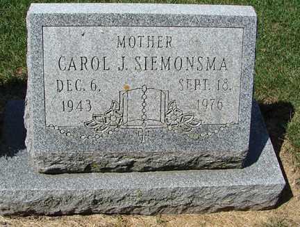 SIEMONSMA, CAROL J. - Minnehaha County, South Dakota   CAROL J. SIEMONSMA - South Dakota Gravestone Photos