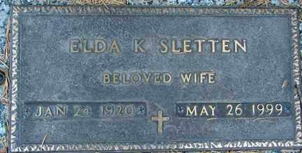 SLETTEN, ELDA K. - Minnehaha County, South Dakota | ELDA K. SLETTEN - South Dakota Gravestone Photos