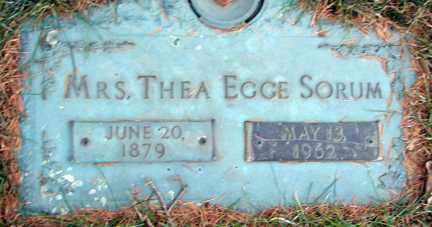 EGGE SORUM, THEA - Minnehaha County, South Dakota | THEA EGGE SORUM - South Dakota Gravestone Photos