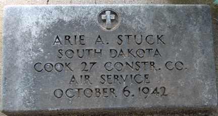 STUCK, ARIE A. (MILITARY) - Minnehaha County, South Dakota | ARIE A. (MILITARY) STUCK - South Dakota Gravestone Photos