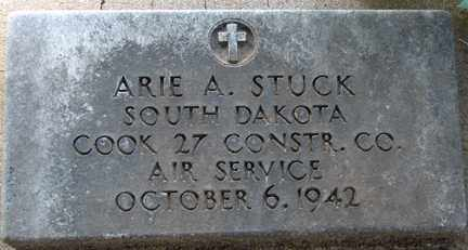 STUCK, ARIE A. (MILITARY) - Minnehaha County, South Dakota | ARIE A. (MILITARY) STUCK - South Dakota Gravestone Photos