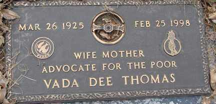 THOMAS, VADA DEE - Minnehaha County, South Dakota | VADA DEE THOMAS - South Dakota Gravestone Photos