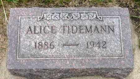 TIDEMANN, ALICE - Minnehaha County, South Dakota | ALICE TIDEMANN - South Dakota Gravestone Photos