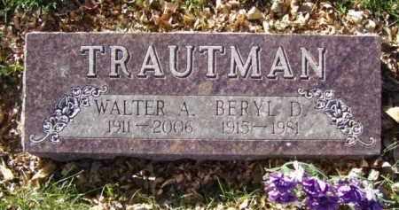 TRAUTMAN, WALTER ANDREW - Minnehaha County, South Dakota | WALTER ANDREW TRAUTMAN - South Dakota Gravestone Photos