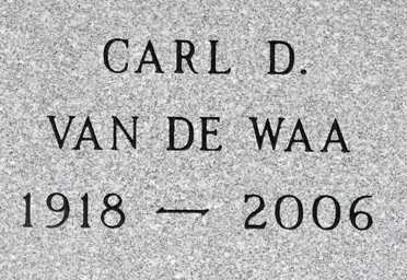 VAN DE WAA, CARL D. - Minnehaha County, South Dakota | CARL D. VAN DE WAA - South Dakota Gravestone Photos