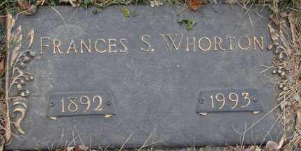 WHORTON, FRANCES S. - Minnehaha County, South Dakota | FRANCES S. WHORTON - South Dakota Gravestone Photos
