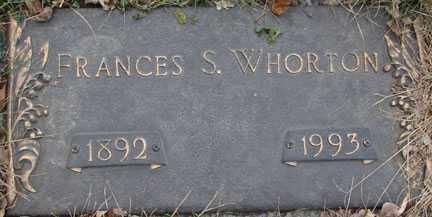 WHORTON, FRANCES S. - Minnehaha County, South Dakota | FRANCES S. WHORTON - South Dakota Gravestone Photos