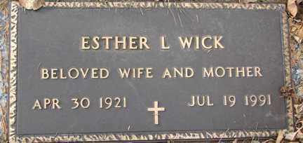 WICK, ESTHER L. - Minnehaha County, South Dakota | ESTHER L. WICK - South Dakota Gravestone Photos