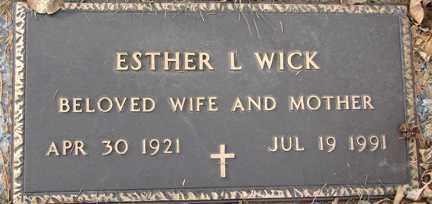 WICK, ESTHER L. - Minnehaha County, South Dakota | ESTHER L. WICK - South Dakota Gravestone Photos